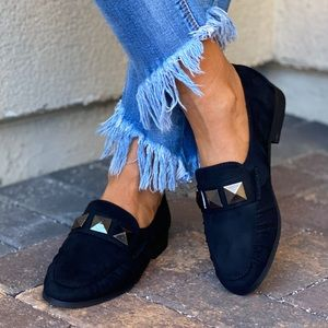 Black Studs Vamp Boyfriend Slip On Loafer Flats